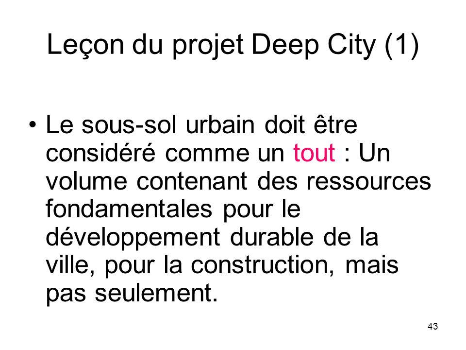 Leçon du projet Deep City (1) Le sous-sol urbain doit être considéré comme un tout : Un volume contenant des ressources fondamentales pour le développ