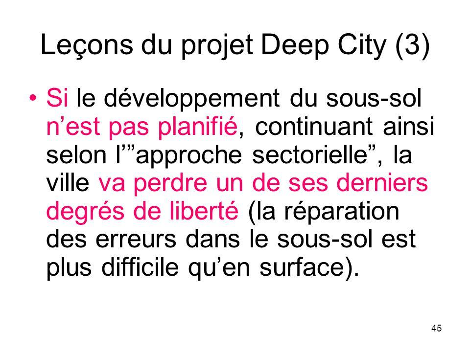 Leçons du projet Deep City (3) Si le développement du sous-sol nest pas planifié, continuant ainsi selon lapproche sectorielle, la ville va perdre un