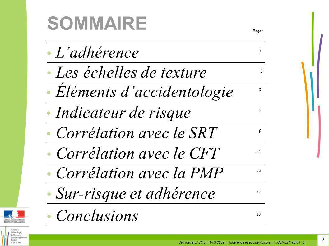 Pages 2 Corrélation avec la PMP 14 SOMMAIRE Les échelles de texture 5 Éléments daccidentologie 6 Indicateur de risque 7 Corrélation avec le SRT 9 Ladh