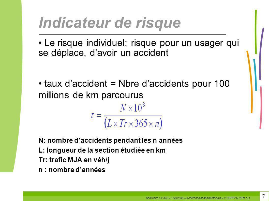 7 7 Indicateur de risque Le risque individuel: risque pour un usager qui se déplace, davoir un accident taux daccident = Nbre daccidents pour 100 mill