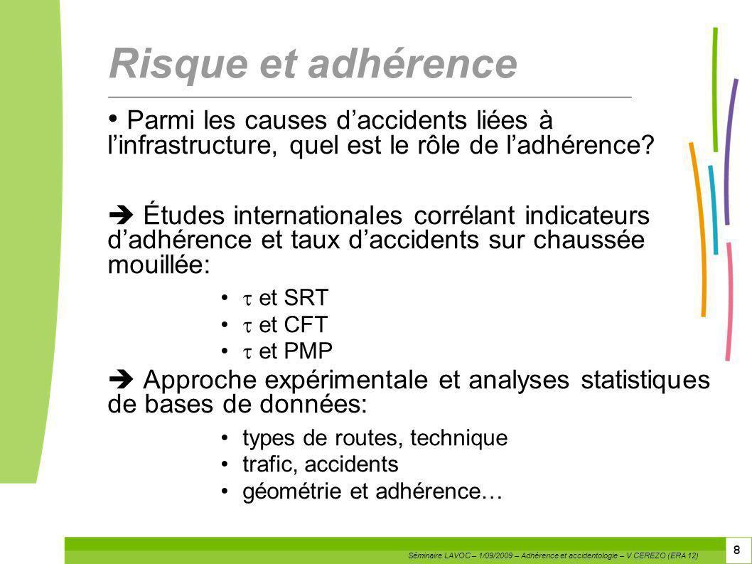 8 8 Risque et adhérence Parmi les causes daccidents liées à linfrastructure, quel est le rôle de ladhérence? Études internationales corrélant indicate