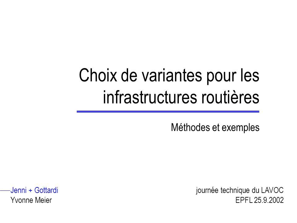 Choix de variantes pour les infrastructures routières Méthodes et exemples Jenni + Gottardi Yvonne Meier journée technique du LAVOC EPFL 25.9.2002
