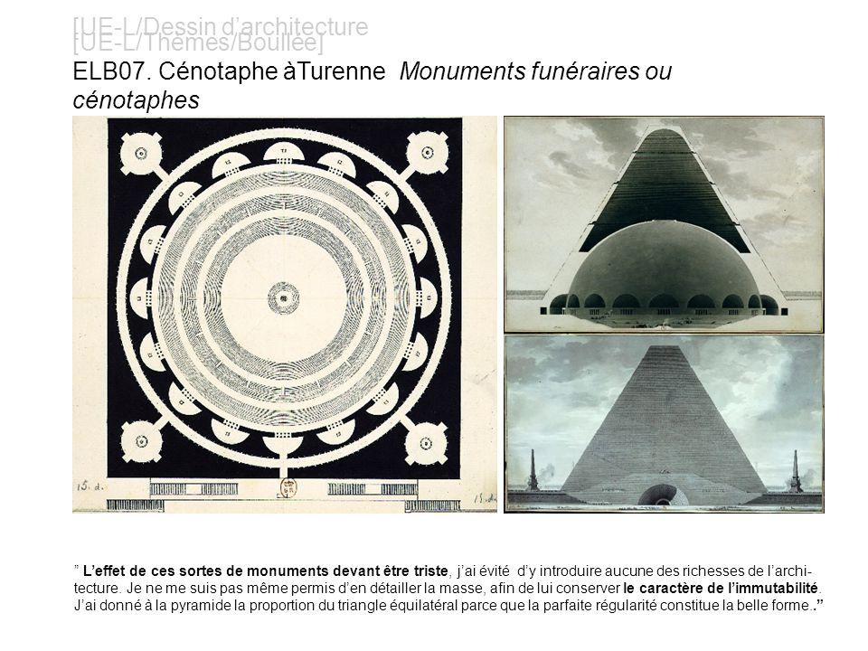 [UE-L/Dessin darchitecture [UE-L/Thèmes/Boullée] ELB07. Cénotaphe àTurenne Monuments funéraires ou cénotaphes Leffet de ces sortes de monuments devant