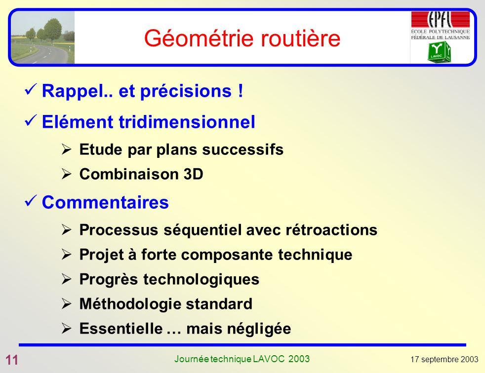 17 septembre 2003 11 Journée technique LAVOC 2003 Géométrie routière Rappel.. et précisions ! Elément tridimensionnel Etude par plans successifs Combi
