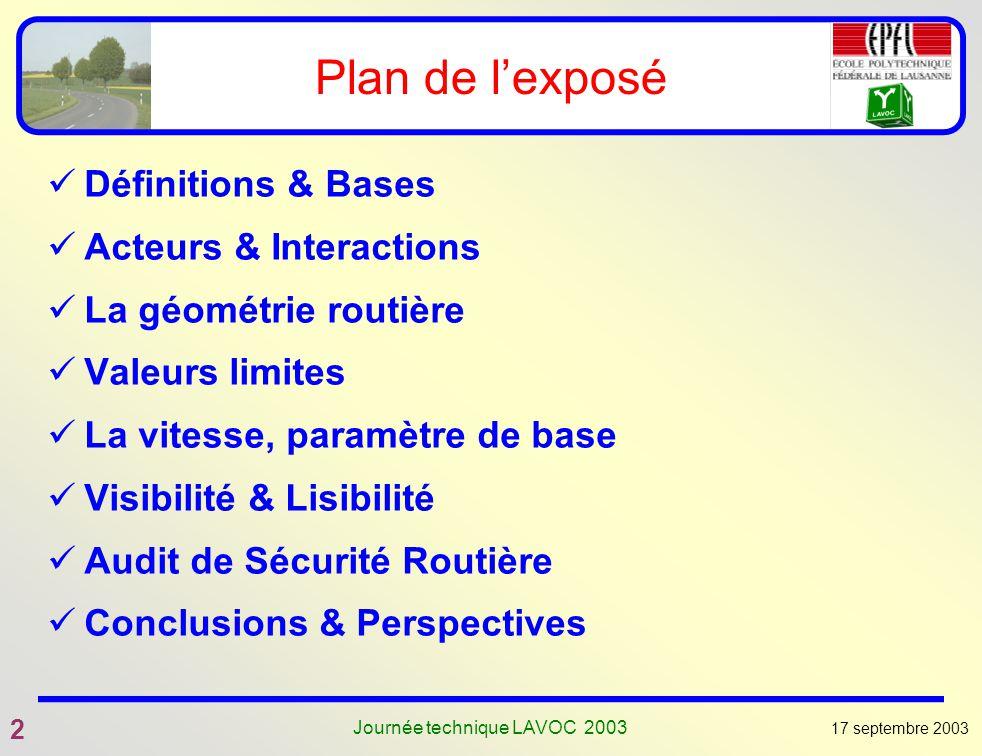 17 septembre 2003 2 Journée technique LAVOC 2003 Plan de lexposé Définitions & Bases Acteurs & Interactions La géométrie routière Valeurs limites La v