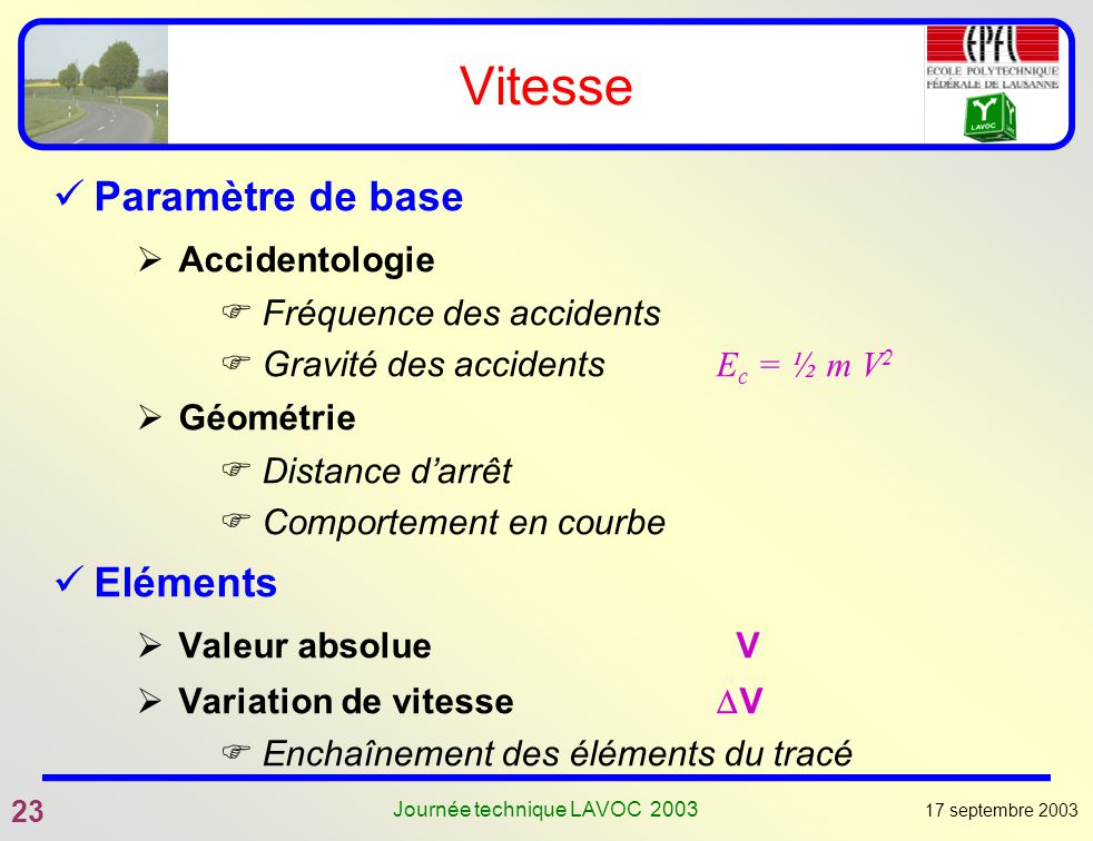 17 septembre 2003 23 Journée technique LAVOC 2003 Vitesse Paramètre de base Accidentologie Fréquence des accidents Gravité des accidents E c = ½ m V 2