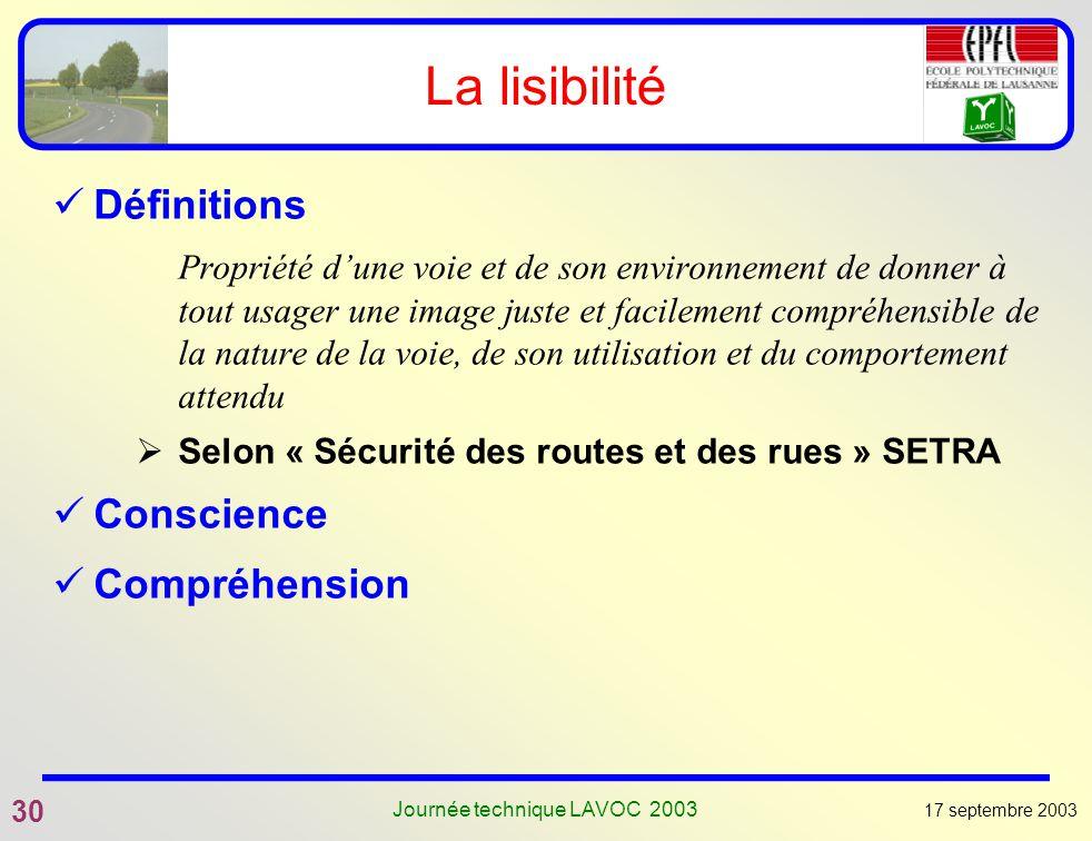 17 septembre 2003 30 Journée technique LAVOC 2003 La lisibilité Définitions Propriété dune voie et de son environnement de donner à tout usager une im