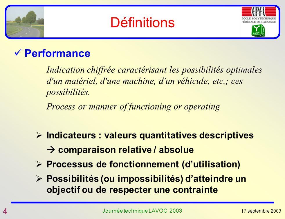 17 septembre 2003 4 Journée technique LAVOC 2003 Définitions Performance Indication chiffrée caractérisant les possibilités optimales d'un matériel, d