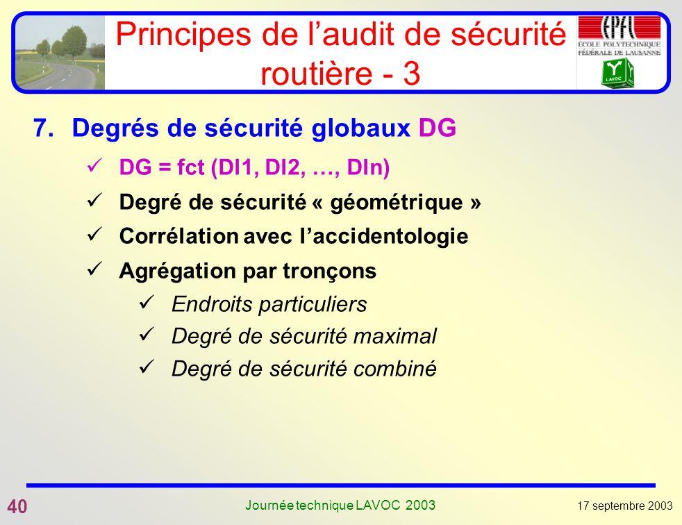 17 septembre 2003 40 Journée technique LAVOC 2003 Principes de laudit de sécurité routière - 3 7.Degrés de sécurité globaux DG DG = fct (Dl1, Dl2, …,