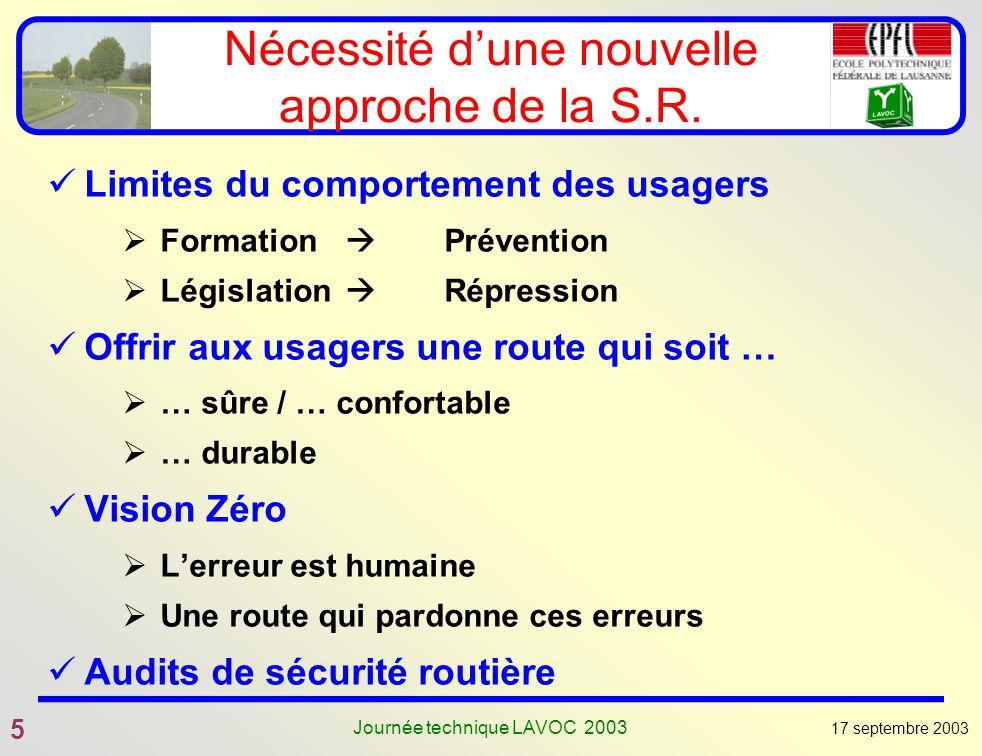 17 septembre 2003 5 Journée technique LAVOC 2003 Nécessité dune nouvelle approche de la S.R. Limites du comportement des usagers Formation Prévention