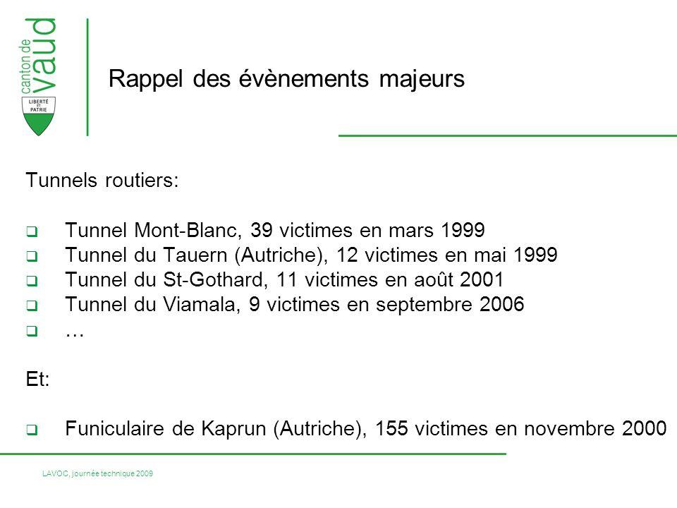 LAVOC, journée technique 2009 Tunnels routiers: Tunnel Mont-Blanc, 39 victimes en mars 1999 Tunnel du Tauern (Autriche), 12 victimes en mai 1999 Tunne