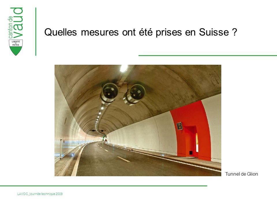 LAVOC, journée technique 2009 Quelles mesures ont été prises en Suisse ? Tunnel de Glion