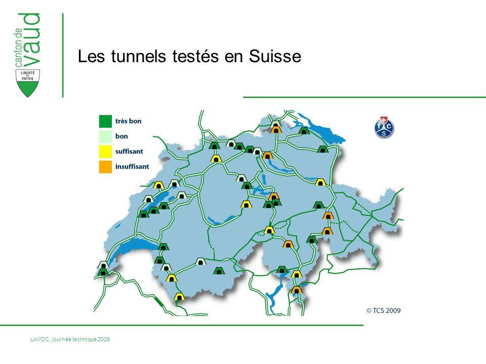 LAVOC, journée technique 2009 Les tunnels testés en Suisse