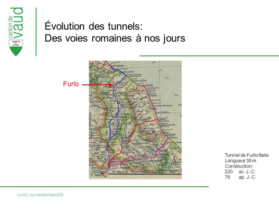 LAVOC, journée technique 2009 Évolution des tunnels: Des voies romaines à nos jours Tunnel de Furlo/Italie Longueur 38 m Construction: 220av.