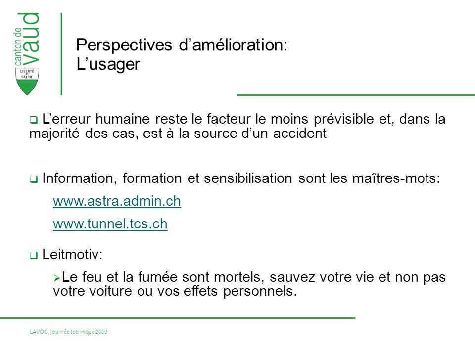 LAVOC, journée technique 2009 Perspectives damélioration: Lusager Lerreur humaine reste le facteur le moins prévisible et, dans la majorité des cas, e