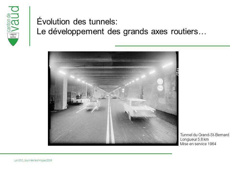 LAVOC, journée technique 2009 Évolution des tunnels: Le développement des grands axes routiers… Tunnel du Grand-St-Bernard Longueur 5,8 km Mise en service 1964
