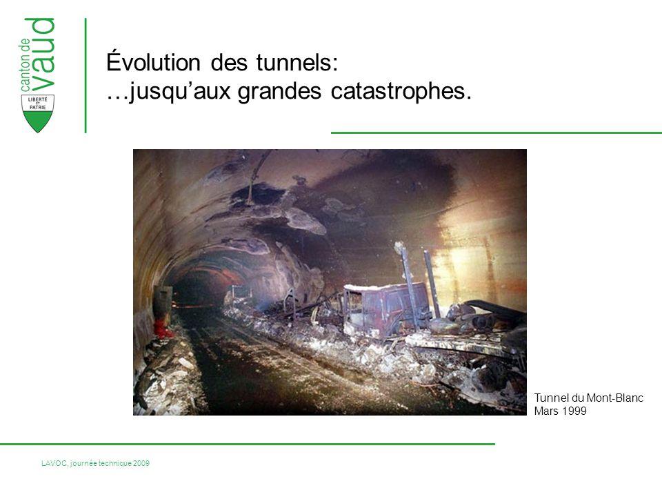 LAVOC, journée technique 2009 Tunnels routiers: Tunnel Mont-Blanc, 39 victimes en mars 1999 Tunnel du Tauern (Autriche), 12 victimes en mai 1999 Tunnel du St-Gothard, 11 victimes en août 2001 Tunnel du Viamala, 9 victimes en septembre 2006 … Et: Funiculaire de Kaprun (Autriche), 155 victimes en novembre 2000 Rappel des évènements majeurs