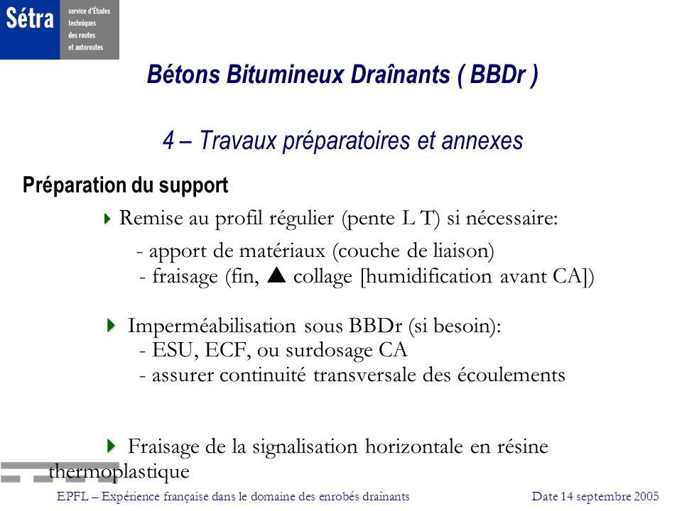 EPFL – Expérience française dans le domaine des enrobés draînantsDate 14 septembre 2005 Bétons Bitumineux Draînants ( BBDr ) 4 – Travaux préparatoires