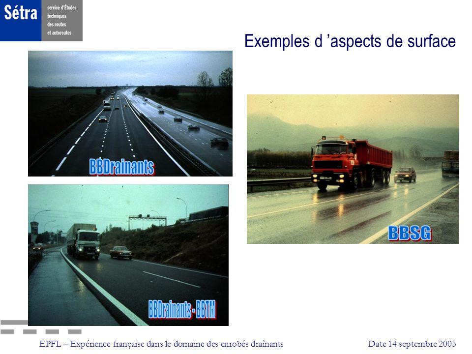 EPFL – Expérience française dans le domaine des enrobés draînantsDate 14 septembre 2005 Exemples d aspects de surface