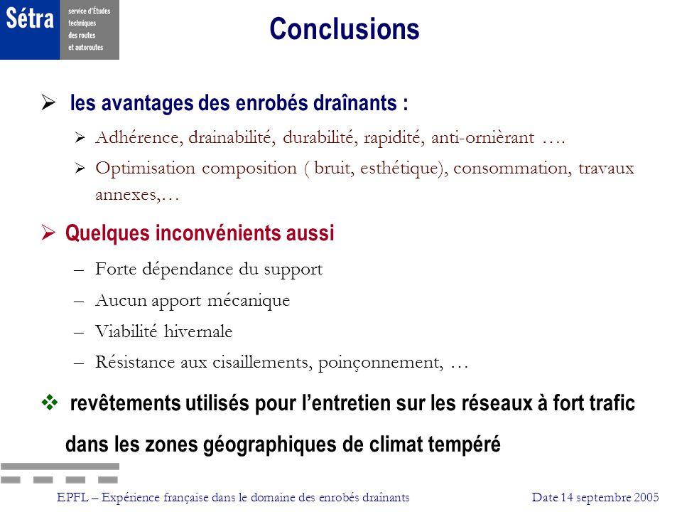 EPFL – Expérience française dans le domaine des enrobés draînantsDate 14 septembre 2005 Conclusions les avantages des enrobés draînants : Adhérence, d