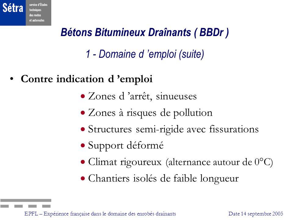 EPFL – Expérience française dans le domaine des enrobés draînantsDate 14 septembre 2005 Propriétés de surface - Texture Niveau élevé et durable de la texture et ce dautant plus que lépaisseur des revêtements est mince; lincidence D est faible.