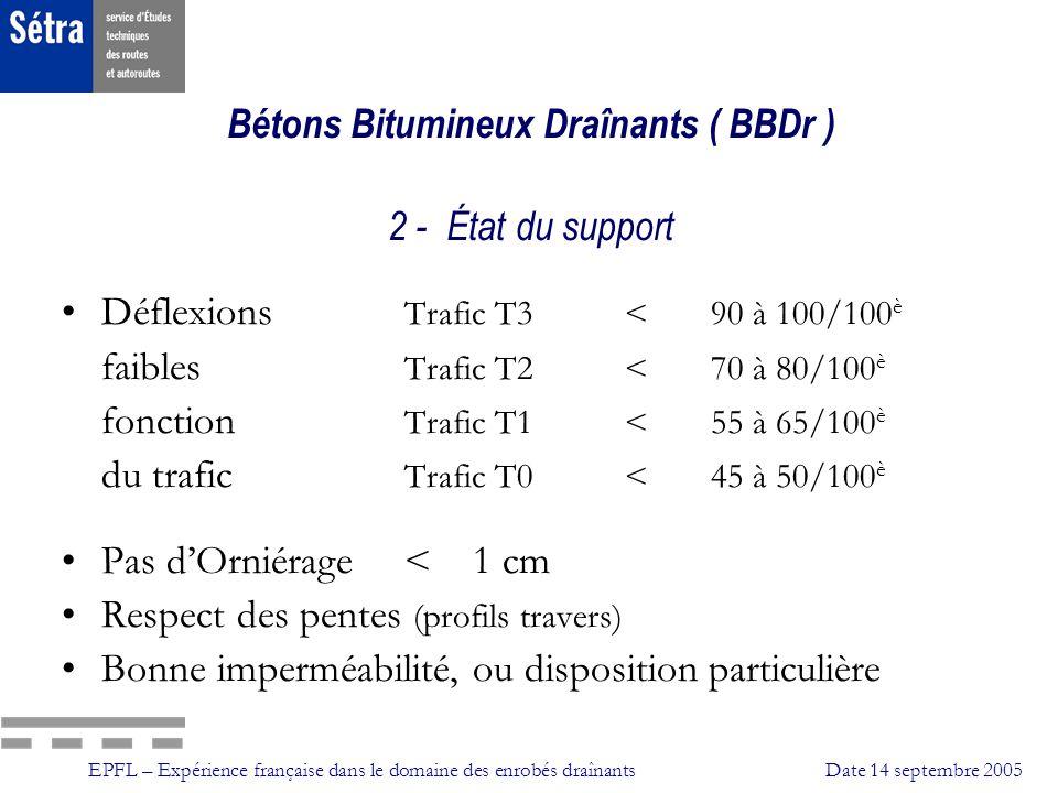 EPFL – Expérience française dans le domaine des enrobés draînantsDate 14 septembre 2005 Bétons Bitumineux Draînants ( BBDr ) 3 - Caractéristiques de composition Granularité: 0/6 ou 0/10 discontinue Liant: Bitume pur ou bitume modifié Ajouts éventuels : Fibres Norme ou référence: France Europe (2005) BBDr Norme NF P 98 -134 (Juin 2000) NE 13108-7