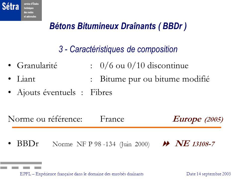 EPFL – Expérience française dans le domaine des enrobés draînantsDate 14 septembre 2005 Adhérence Conditions de mesure: Pneu lisse (AIPCR) Pneu lisse (AIPCR) 1mm deau 1mm deau Roue bloquée Roue bloquée Vitesse de 40 à 120 km/h Vitesse de 40 à 120 km/h Norme NFP 98-220-2