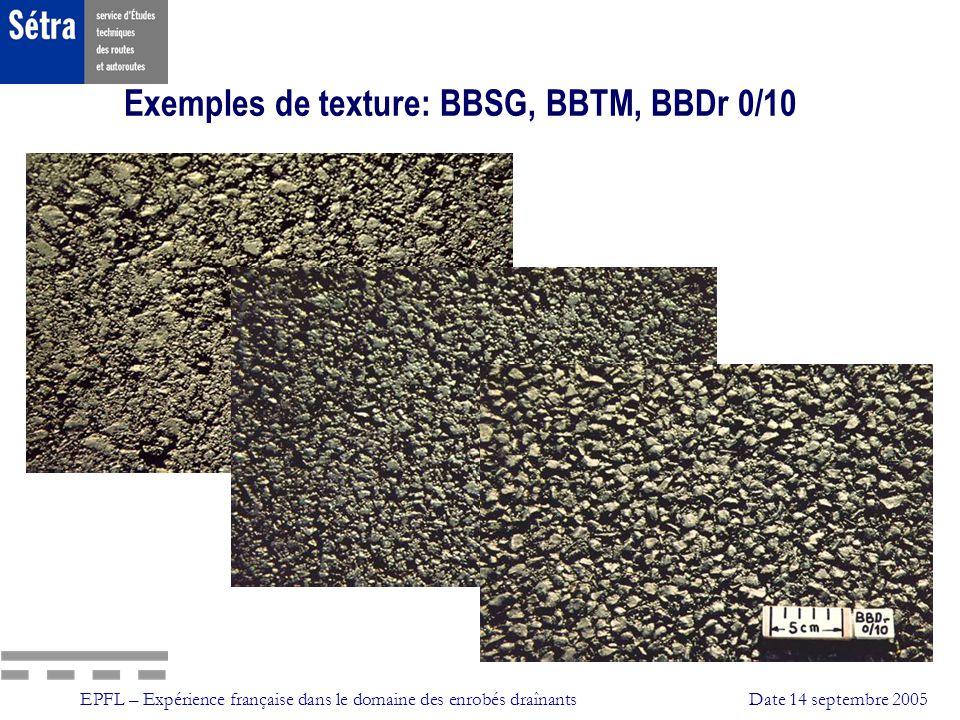 EPFL – Expérience française dans le domaine des enrobés draînantsDate 14 septembre 2005 Bétons Bitumineux Draînants ( BBDr ) 4 – Travaux préparatoires et annexes Préparation du support Remise au profil régulier (pente L T) si nécessaire: - apport de matériaux (couche de liaison) - fraisage (fin, collage [humidification avant CA]) Imperméabilisation sous BBDr (si besoin): - ESU, ECF, ou surdosage CA - assurer continuité transversale des écoulements Fraisage de la signalisation horizontale en résine thermoplastique
