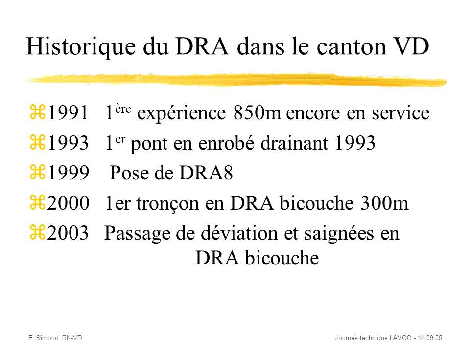 E. Simond RN-VDJournée technique LAVOC - 14.09.05 Historique du DRA dans le canton VD z1991 1 ère expérience 850m encore en service z1993 1 er pont en