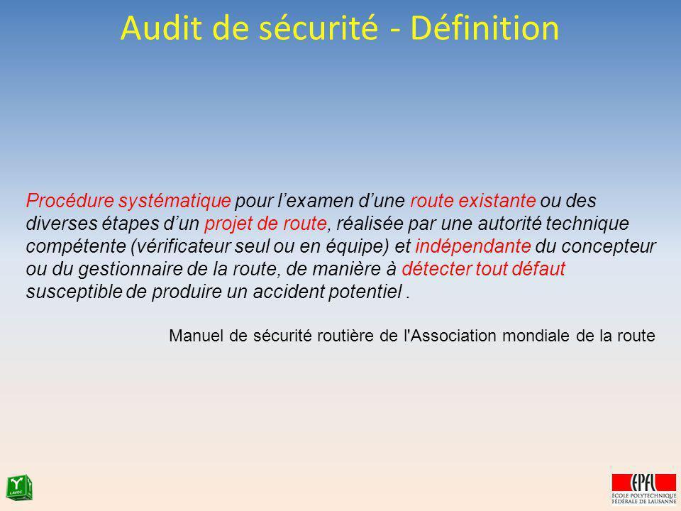 Audit de sécurité - Définition Procédure systématique pour lexamen dune route existante ou des diverses étapes dun projet de route, réalisée par une a