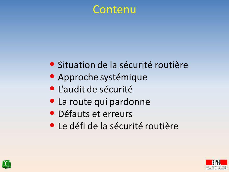 Situation de la sécurité routière Approche systémique Laudit de sécurité La route qui pardonne Défauts et erreurs Le défi de la sécurité routière Cont