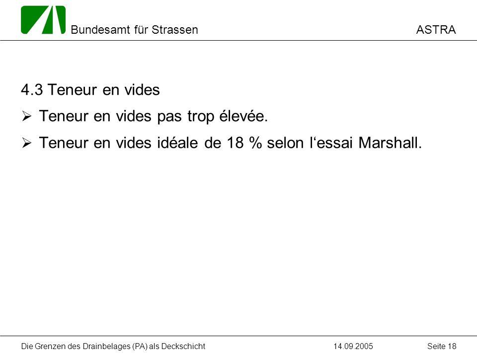 ASTRA Bundesamt für Strassen 14.09.2005Die Grenzen des Drainbelages (PA) als Deckschicht Seite 18 4.3 Teneur en vides Teneur en vides pas trop élevée.
