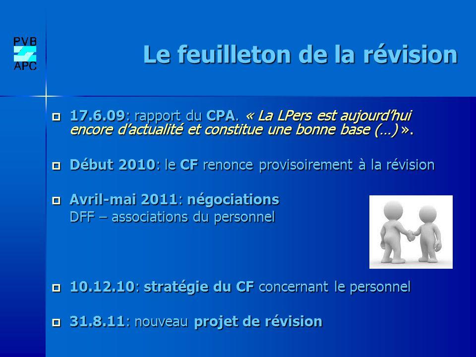 Le feuilleton de la révision 17.6.09: rapport du CPA. « La LPers est aujourdhui encore dactualité et constitue une bonne base (…) ». 17.6.09: rapport
