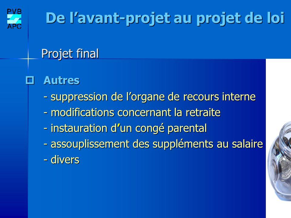 De lavant-projet au projet de loi Projet final De lavant-projet au projet de loi Projet final Autres Autres - suppression de lorgane de recours intern