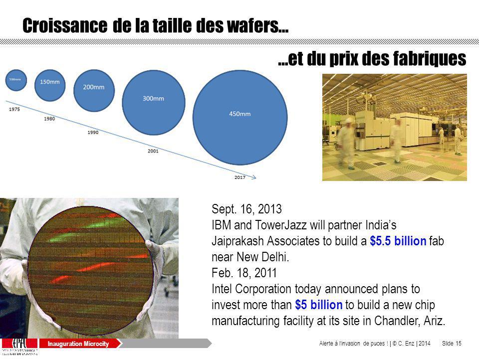 Inauguration Microcity Croissance de la taille des wafers… © C. Enz | 2014Alerte à linvasion de puces ! |Slide 15 Sept. 16, 2013 IBM and TowerJazz wil