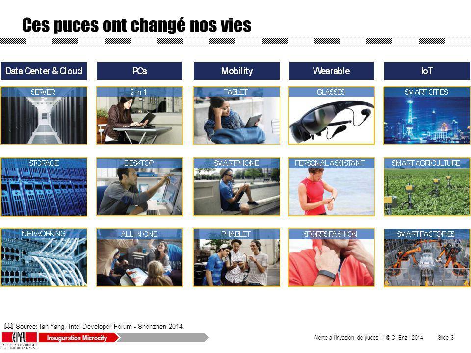 Inauguration Microcity Ces puces ont changé nos vies © C. Enz | 2014Alerte à linvasion de puces ! |Slide 3 Source: Ian Yang, Intel Developer Forum - S