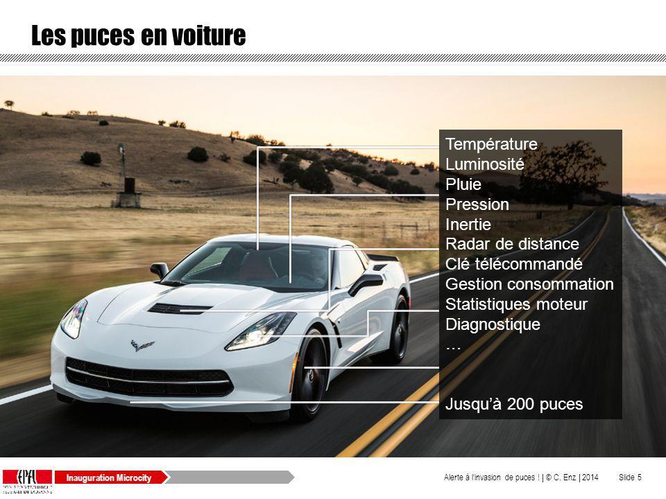 Inauguration Microcity Les puces en voiture © C. Enz | 2014Alerte à linvasion de puces ! |Slide 5 Température Luminosité Pluie Pression Inertie Radar