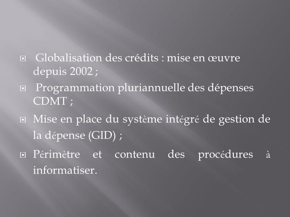 Globalisation des crédits : mise en œuvre depuis 2002 ; Programmation pluriannuelle des dépenses CDMT ; Mise en place du syst è me int é gr é de gestion de la d é pense (GID) ; P é rim è tre et contenu des proc é dures à informatiser.