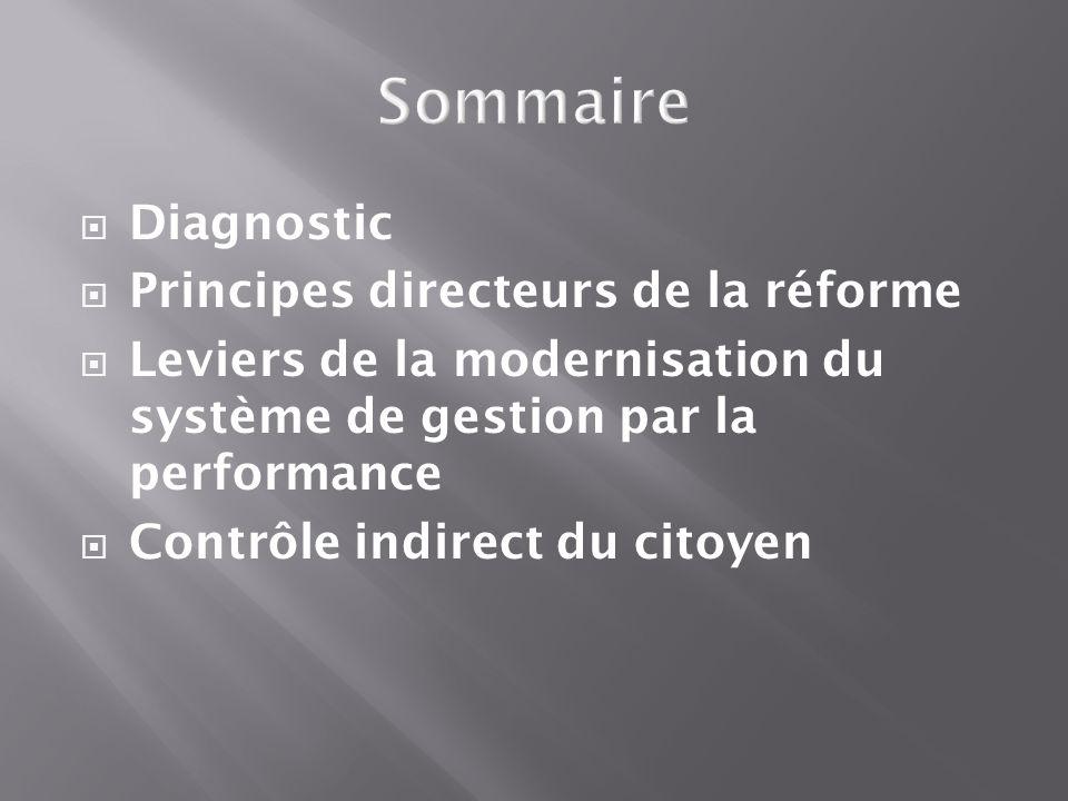 Diagnostic Principes directeurs de la réforme Leviers de la modernisation du système de gestion par la performance Contrôle indirect du citoyen