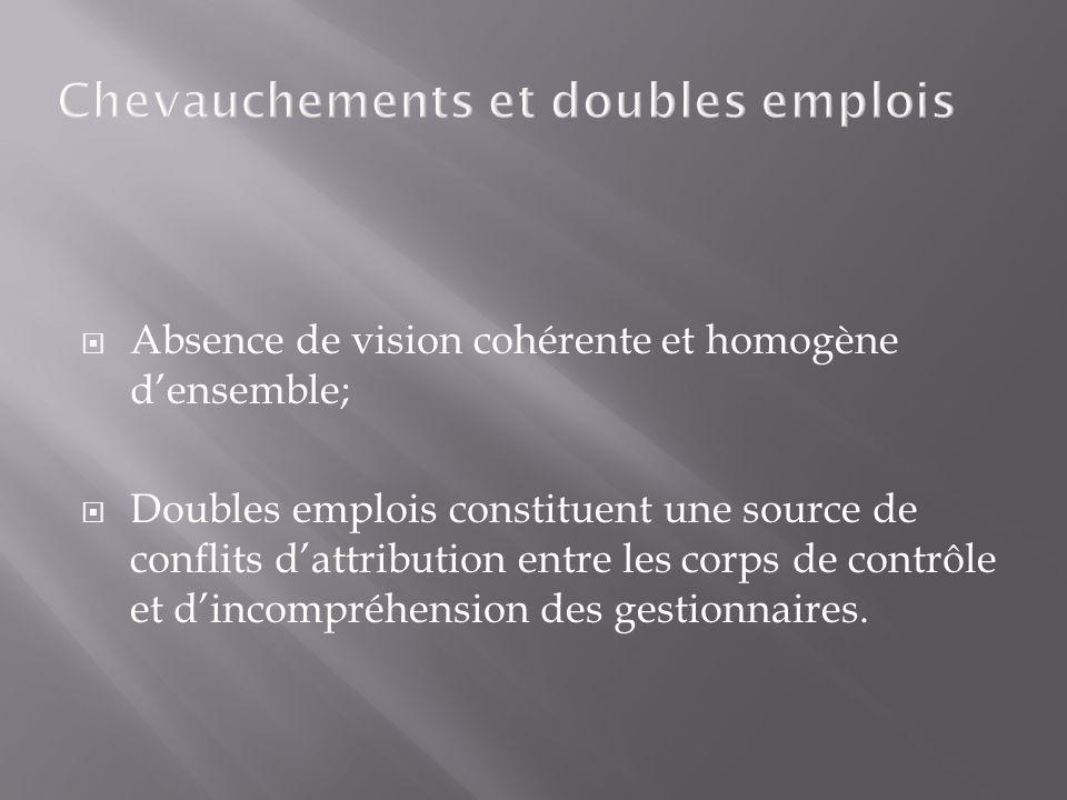 Chevauchements et doubles emplois Absence de vision cohérente et homogène densemble; Doubles emplois constituent une source de conflits dattribution entre les corps de contrôle et dincompréhension des gestionnaires.