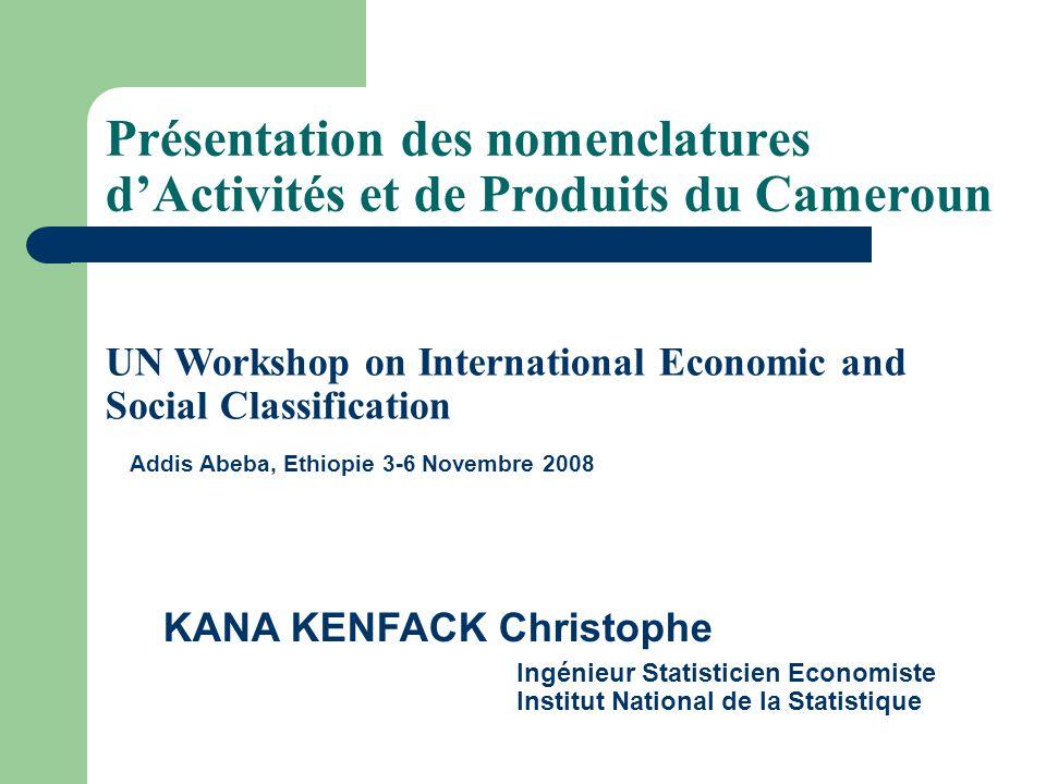 Plan de la présentation Généralités Processus délaboration de la NAC et de la NPC Critères de classification Codification des nomenclatures camerounaises Comparaison avec la CITI 3, NAEMA et la NOPEMA Utilisation des nomenclatures dans les comptes nationaux Les défis