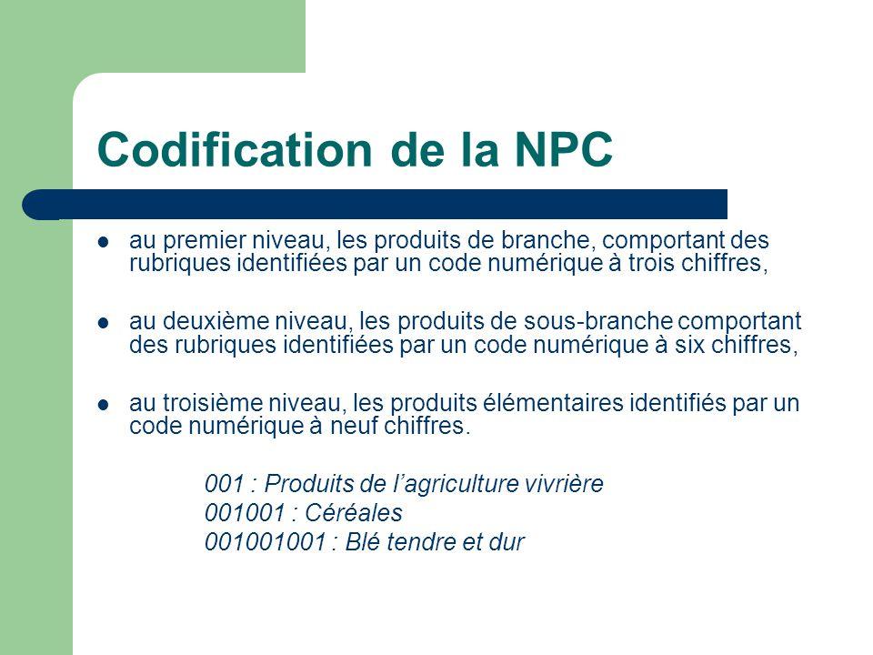 Codification de la NPC au premier niveau, les produits de branche, comportant des rubriques identifiées par un code numérique à trois chiffres, au deuxième niveau, les produits de sous-branche comportant des rubriques identifiées par un code numérique à six chiffres, au troisième niveau, les produits élémentaires identifiés par un code numérique à neuf chiffres.