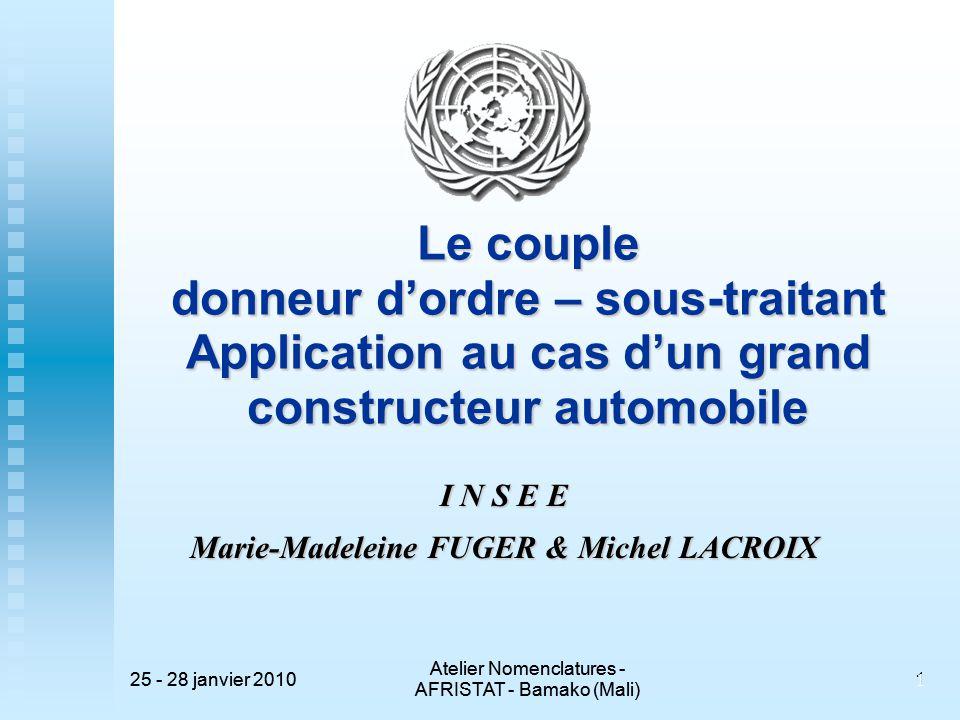 25 - 28 janvier 2010 Atelier Nomenclatures - AFRISTAT - Bamako (Mali) 25 - 28 janvier 2010 Atelier Nomenclatures - AFRISTAT - Bamako (Mali) 1 1 Le cou