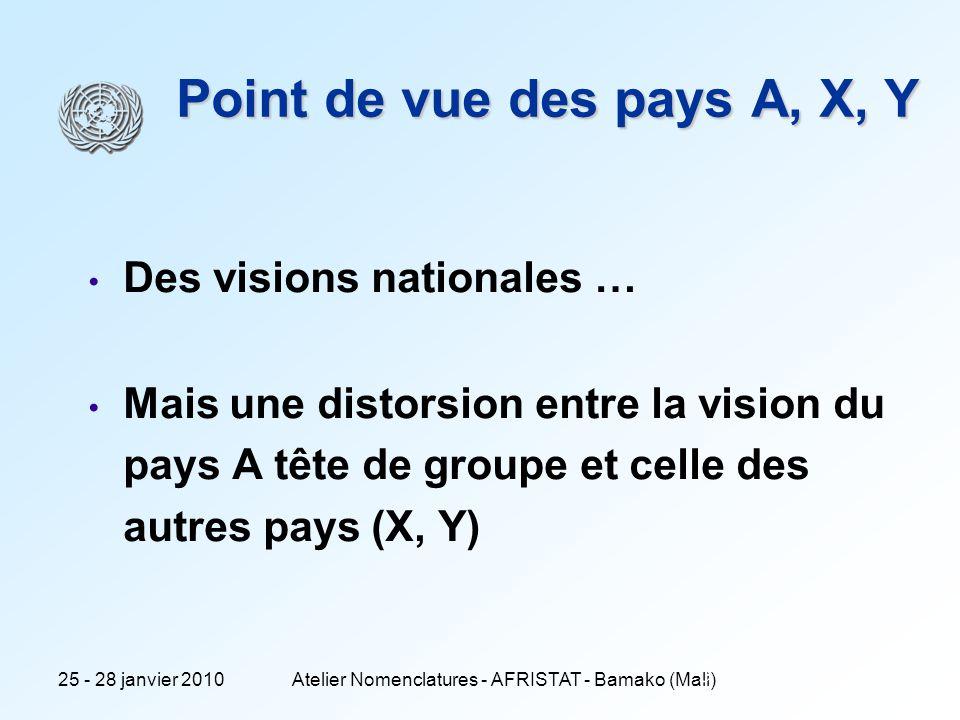 25 - 28 janvier 2010Atelier Nomenclatures - AFRISTAT - Bamako (Mali) 5 Point de vue des pays A, X, Y Des visions nationales … Mais une distorsion entre la vision du pays A tête de groupe et celle des autres pays (X, Y)
