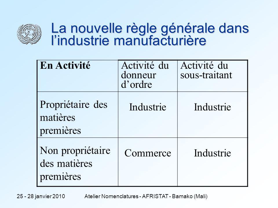 25 - 28 janvier 2010Atelier Nomenclatures - AFRISTAT - Bamako (Mali) La nouvelle règle générale dans lindustrie manufacturière En Activité Activité du donneur dordre Activité du sous-traitant Propriétaire des matières premières Industrie Non propriétaire des matières premières CommerceIndustrie