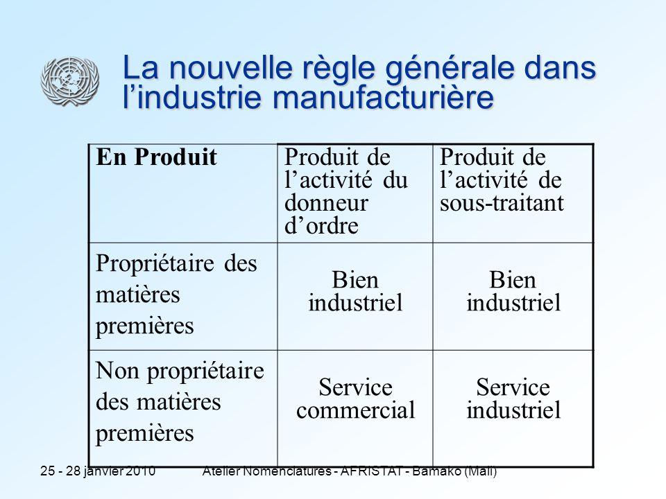 25 - 28 janvier 2010Atelier Nomenclatures - AFRISTAT - Bamako (Mali) La nouvelle règle générale dans lindustrie manufacturière En Produit Produit de l