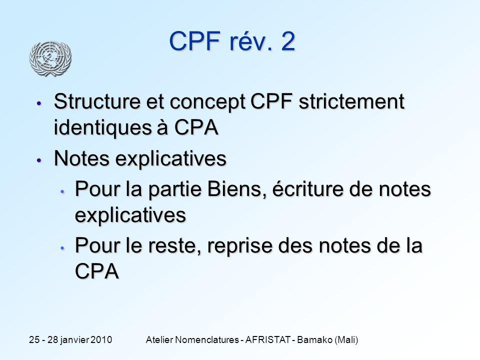 12 CPF rév. 2 Structure et concept CPF strictement identiques à CPA Structure et concept CPF strictement identiques à CPA Notes explicatives Notes exp