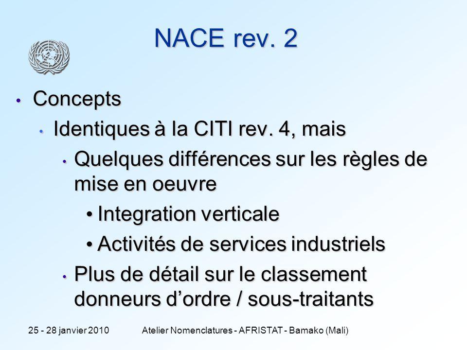 6 NACE rev. 2 Concepts Concepts Identiques à la CITI rev. 4, mais Identiques à la CITI rev. 4, mais Quelques différences sur les règles de mise en oeu