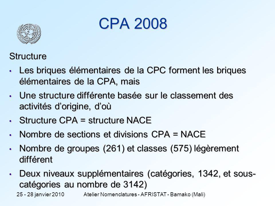 8 CPA 2008 Structure Les briques élémentaires de la CPC forment les briques élémentaires de la CPA, mais Les briques élémentaires de la CPC forment les briques élémentaires de la CPA, mais Une structure différente basée sur le classement des activités dorigine, doù Une structure différente basée sur le classement des activités dorigine, doù Structure CPA = structure NACE Structure CPA = structure NACE Nombre de sections et divisions CPA = NACE Nombre de sections et divisions CPA = NACE Nombre de groupes (261) et classes (575) légèrement différent Nombre de groupes (261) et classes (575) légèrement différent Deux niveaux supplémentaires (catégories, 1342, et sous- catégories au nombre de 3142) Deux niveaux supplémentaires (catégories, 1342, et sous- catégories au nombre de 3142) 25 - 28 janvier 2010Atelier Nomenclatures - AFRISTAT - Bamako (Mali)