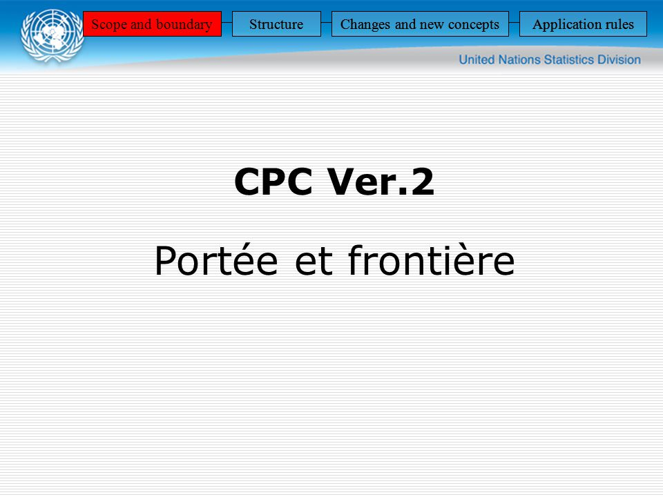 CPC Ver.2 Portée et frontière Scope and boundaryStructureChanges and new conceptsApplication rules StructureChanges and new conceptsApplication rulesScope and boundaryStructureChanges and new conceptsApplication rulesScope and boundaryStructureChanges and new conceptsApplication rules
